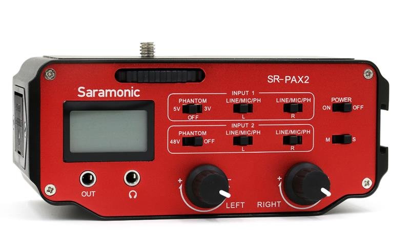 "Saramonic SR-PAX2 2-Channel On-Camera XLR & 1/8"" (3 5mm) Audio Mixer"