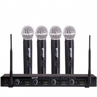 Gemini UHF-04M UHF Four Channel Wireless System with Hand-held Microphones